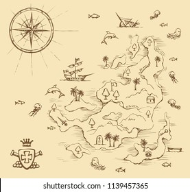 Aged medieval isle place plan card on white water backdrop. Game view. Freehand line black ink hand drawn journey way icon sign sketch in art cartoon doodle note etch style pen on paper space for text
