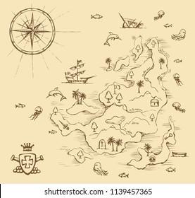 Alte mittelalterliche Karte für Orte auf weißem Wasser. Spielansicht. Freehand Linie Schwarz handgezeichnet Reiseweg Symbol Skizze in Art Cartoon doodle Notizzettel Stift auf Papier Platz für Text