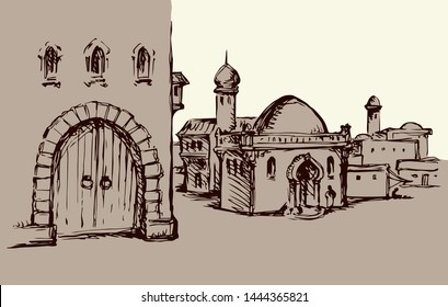 Aged middle eastern turkey orient tourism urban district scenic view. Gate scene text place on white sky. Line black ink hand drawn picture sketch in retro engraved israeli bible graphic vector style
