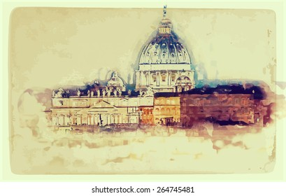 Aged painting of St. Peter's cathedral in Rome, Italy