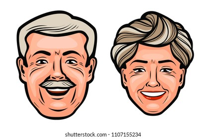 Aged people. Happy grandfather and grandmother. Cartoon vector illustration