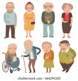 Aged people. Older men and women . Grandmothers and grandfathers