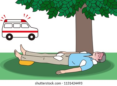 aged person receiving first aid for heat stroke