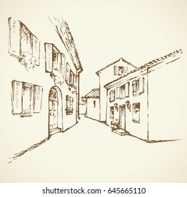 Aged romantic summer downtown place with medieval edifice. Freehand linear ink hand drawn picture sketchy in art retro scribble graphic style pen on paper with space for text on white sky backdrop
