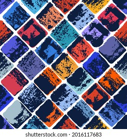 Aged seamless tiles vector design, old grunge texture medley endless motif, vintage art.