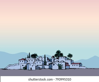 Aged twilight middle east antique turkey orient palm tree oasis scene view with vintage tower dwelling. Hand drawn picture sketch in retro cartoon graphic style with place for text on pink evening sky