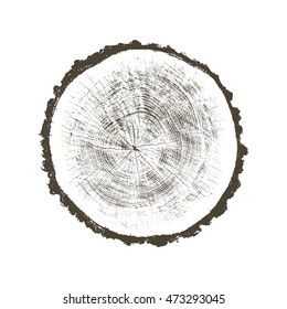 Aged vintage rough wood tree background with cracks and rings cut in a cross section from the woods in vector format