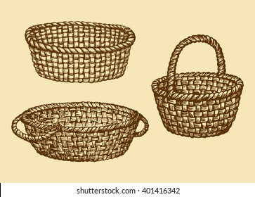 Aged willow bast bread pottle isolated on white background. Freehand contour ink hand drawn picture sign sketchy in grunge art antique doodle style pen on paper. Closeup side view with space for text
