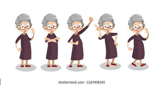 Aged woman showing different gestures. Positive elderly woman having fun. Funny granny animation set. Hello, v sign and hand up with fist. Old people emotions and expressions vector illustration