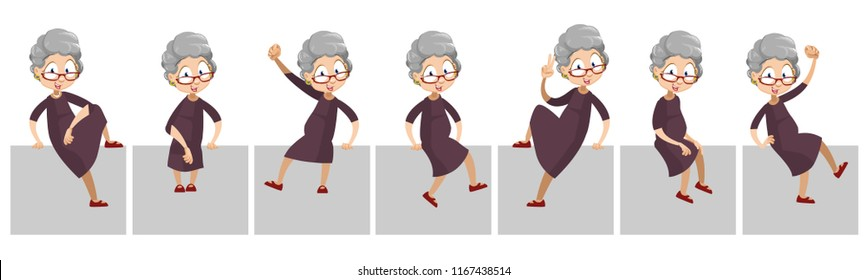 Aged woman sitting in different poses. Funny granny with various hand gestures. Old woman sitting on platform. Funny grandmother personage. Animated female pensioner character vector illustration
