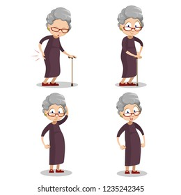 Aged woman with walking cane personages. Happy, neutral and sad elderly woman wearing brown dress. Funny granny standing cartoon animation set. Old female patient with leg pain vector illustration