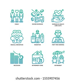 Ageing Society icons set gradient style