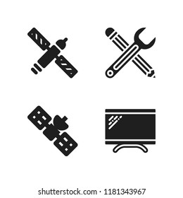 agency icon. 4 agency vector icons set. satellite, monitor and edit tool icons for web and design about agency theme