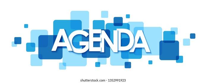 AGENDA blue typography banner