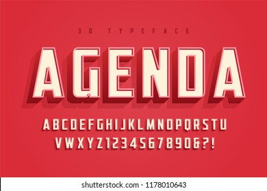 Agenda display font design, alphabet, typeface, letters and numbers, typography.