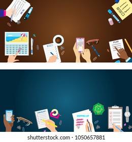 Agenda list banner concept vector illustration set business note ofiice calendar wishlist checklist shopping list plan to do just
