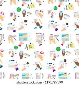 Agenda list concept vector illustration seamless pattern background business note ofiice calendar wishlist checklist shopping list plan to do just
