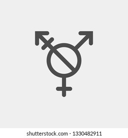 Agender vector sign. Alternative version transgender symbol including the known NO slash to indicate agender inclusion within symbol generally for emphasis of it in agender awareness identification