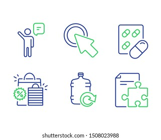 Agent, Capsule pill and Shopping bags line icons set. Click here, Refill water and Strategy signs. Business person, Medicine drugs, Sale discount. Push button. Business set. Vector