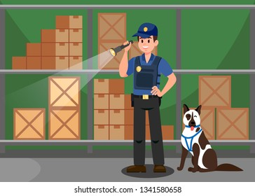 Agent and German Shepherd Flat Vector Illustration. Guardian Inspecting Warehouse with Service Dog. Wareroom security. Secret agent Cartoon Character. Police Investigation, Flashlight