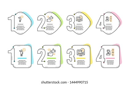Agent, Like and Like video icons simple set. Opinion sign. Business person, Thumbs up, Choose answer. People set. Infographic timeline. Line agent icon. 4 options or steps. Vector