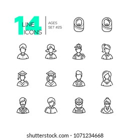 Ages - set of line design style icons isolated on white background. High quality black minimalistic pictograms with different people. Man, woman, boy, girl, babies, senior men