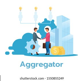 Aggregator flat vector illustration. Partnership. Service provider. E-commerce. Business model. Reselling services. Manager hiring. Reseller. Isolated cartoon character on white background