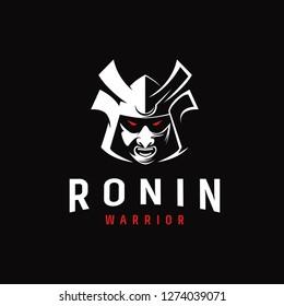 Aggresive logo icon illustration of ronin japanesse warrior
