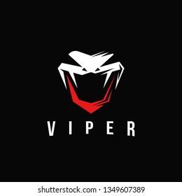 Aggresive powerful viper snake logo vector, letter v viper logo on black background