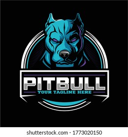 aggressive and angry pitbull dog cartoon character vector badge logo template