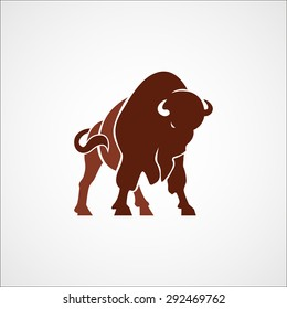 aggressive bison buffalo logo sign emblem isolated vector illustration