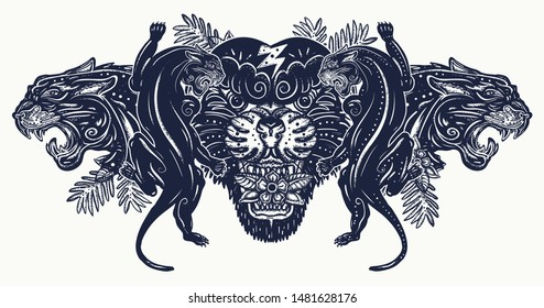 Aggressive black panthers in jungle. Old school tattoo style. Wild cats t-shirt design