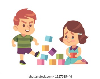 Aggressive bully kicking toys. Cartoon boy breaks toy cubes, unhappy crying girl children abuse behavior, bad manners kids conflict on playground. Flat vector illustration isolated on white background