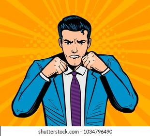 Aggressive businessman or super hero with fists. Business concept in pop art retro comic style. Cartoon vector illustration