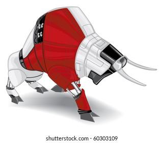aggressive cyborg red, black and white bull vector illustration