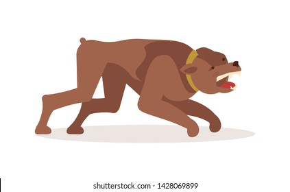 Aggressive dangerous dog attack. Big pooch infected by rabies isolated on white background. Flat Art Vector illustration