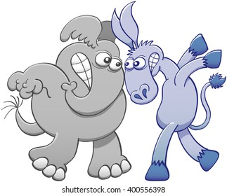 Aggressive donkey and elephant staring at each other, clenching their teeth, defying and confronting face-to-face in an aggressive attitude