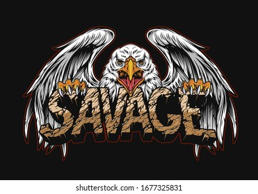 Aggressive eagle holding desert Savage word with cracked sand texture in vintage style isolated vector illustration