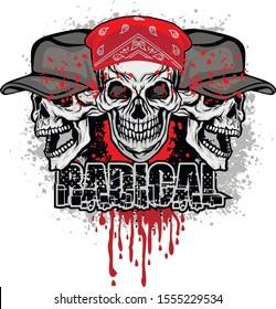 aggressive emblem with skull, grunge vintage design t shirts