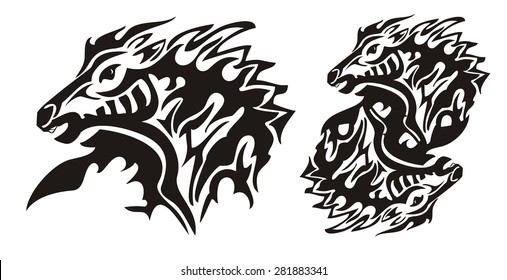 Aggressive flaming horse. Tribal horse head and double horse sing ready for vinyl cutting