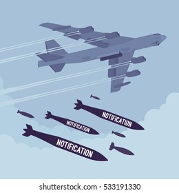 Aggressive heavy bomber aircraft dropping the bombs Notification, carring the operation to attack people, targeting on land from air, endless announcements, irritated informing