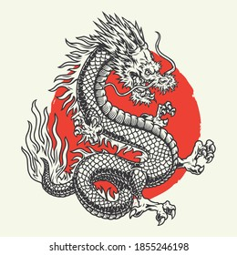Aggressive japanese fantasy dragon concept in vintage monochrome style isolated vector illustration