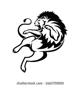 Aggressive lion jumping - isolated vector illustration