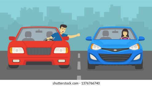 Aggressive male driver yelling at female driver on road. Angry man and smiling woman. Flat vector illustration.
