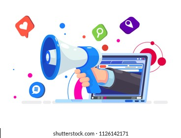 Aggressive marketing illustration. Flat vector Loudspeaker Megaphone from Laptop with social media icons.
