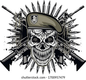 aggressive military  emblem with skull, grunge vintage design t shirts
