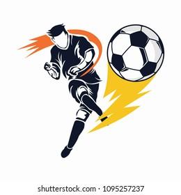 Aggressive Modern Soccer or Football Player On Lightning Kick Illustration