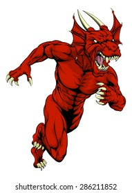 An aggressive muscular red dragon sports mascot character charging