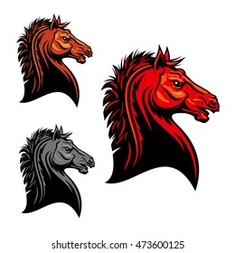 Aggressive mustang horse mascot with tribal stylized fiery red stallion with angry stare. Use as sporting club mascot or t-shirt print design