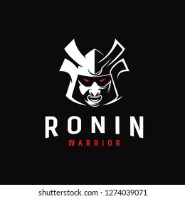 Aggressive samurai ronin Japanese warrior logo icon vector template on black background